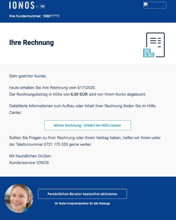 2020-05-18 IONOS Phishing-Mail Ihre Rechnung