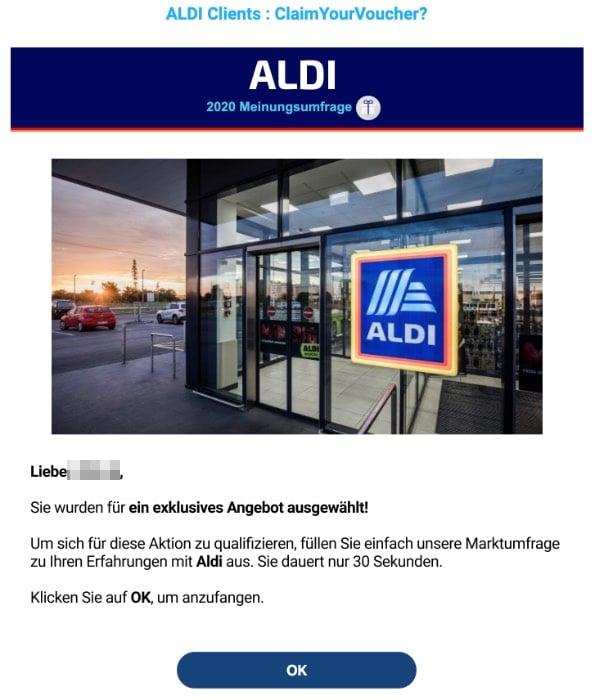2020-05-19 Aldi Spam-Mail Fake Erhalten Sie ein exklusives Angebot von 50 EUR