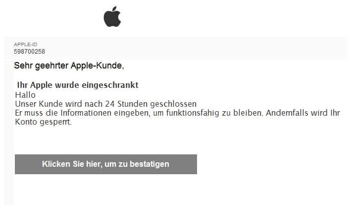 2020-05-19 Apple Spam-Mail Fake Dein Apple-Account ist vorubergehend gesperrt
