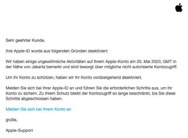 2020-05-20 Apple Spam Fake-Mail Ihre Apple-ID wurde voruebergehend deaktiviert