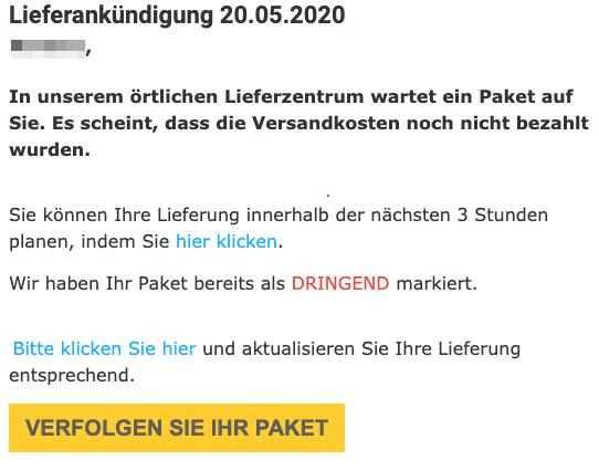 2020-05-20 DHL Spam Fake-Mail Ihr Paket wird heute an den Absender zurueckgesandt