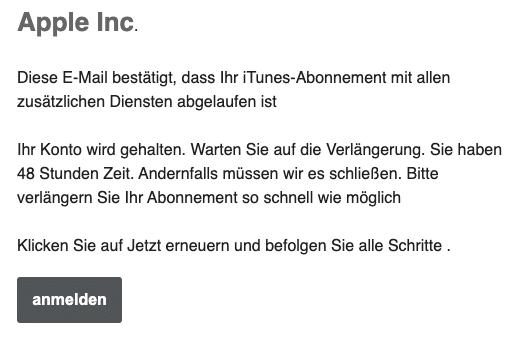 2020-05-22 Apple Fake-Mail Spam Apple Alert- Kontobestaetigung erforderlich