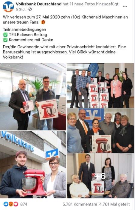 2020-05-22 Facebook Seite Gewinnspiel Fake VoIksbank DeutschIand