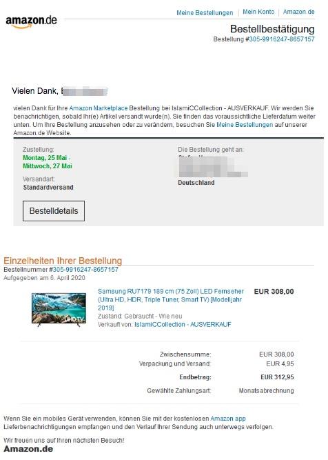 2020-05-23 Amazon Bestellbestaetigung Samsung Einkauf