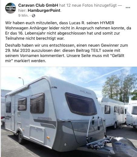 2020-05-24 Facebook Seite Fake-Gewinnspiel Caravan Club GmbH Hymer Wohnwagen