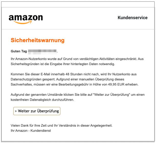 2020-05-25 Amazon Spam Fake-Mail Sicherheitswarnung Ihr Konto