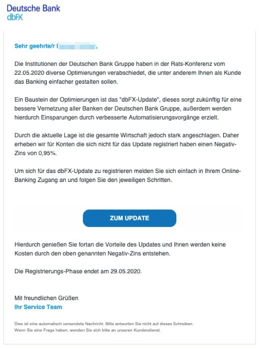 2020-05-25 Deutsche Bank Spam-Mail Fake dbFX-Update zu Ihrem Konto