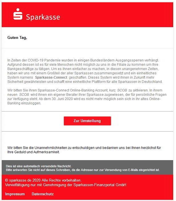 2020-05-25 Sparkasse Spam-Mail Wichtige Umstellung auf das neue Online Konto
