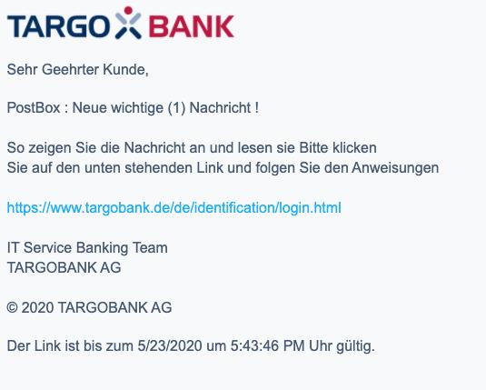 2020-05-25 Targobank SPam-Mail Online-Banking