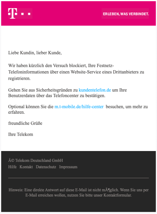 Telekom Fake Mail