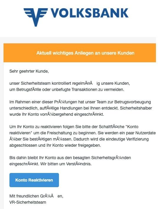 2020-05-25 Volksbank Spam Fake-Mail Konto gesperrt