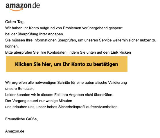 2020-05-26 Amazon Spam Fake-Mail Ihr Amazon Konto wurde gesperrt