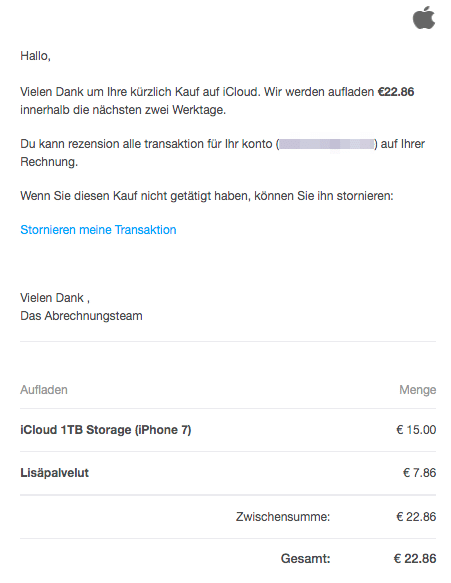 2020-05-26 Apple Phishing Verdaechtige Transaktion in Ihrem Aρρle-Konto