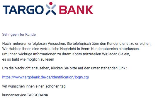 2020-05-26 Targobank Spam Fake-Mail Online-Baking update