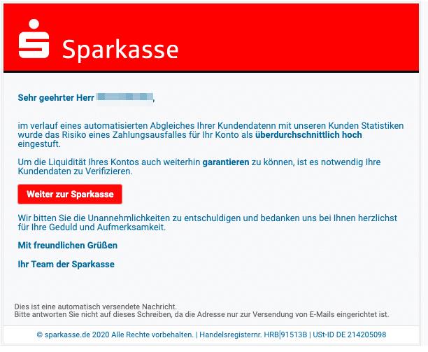 2020-05-27 Sparkasse Spam Fake-MailRisiko eines Zahlungsausfalles