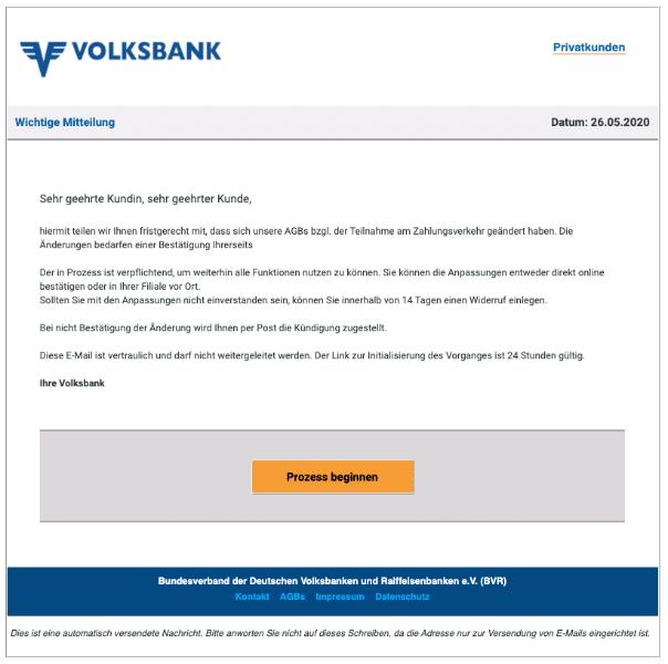 2020-05-27 Volksbank Spam Fake-Mail Aktuelles Anliegen mit der Fall-ID 7478
