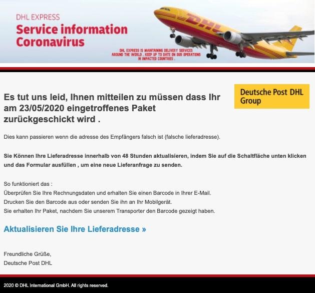 2020-05-28 Deutsche Post DHL Fake-Mail Paket DE497586134