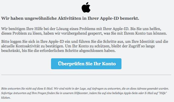 2020-05-30 Apple Spam-Phishing-Mail ungewöhnliche Aktivitäten erkannt