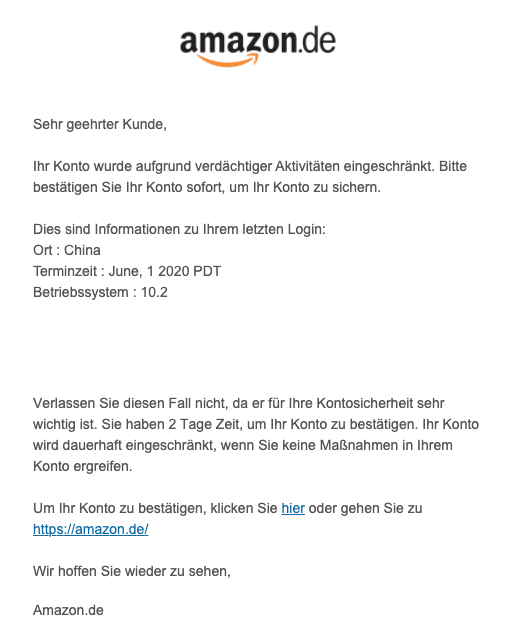 2020-06-02 Amazon Fake-Mail Konto gesperrt