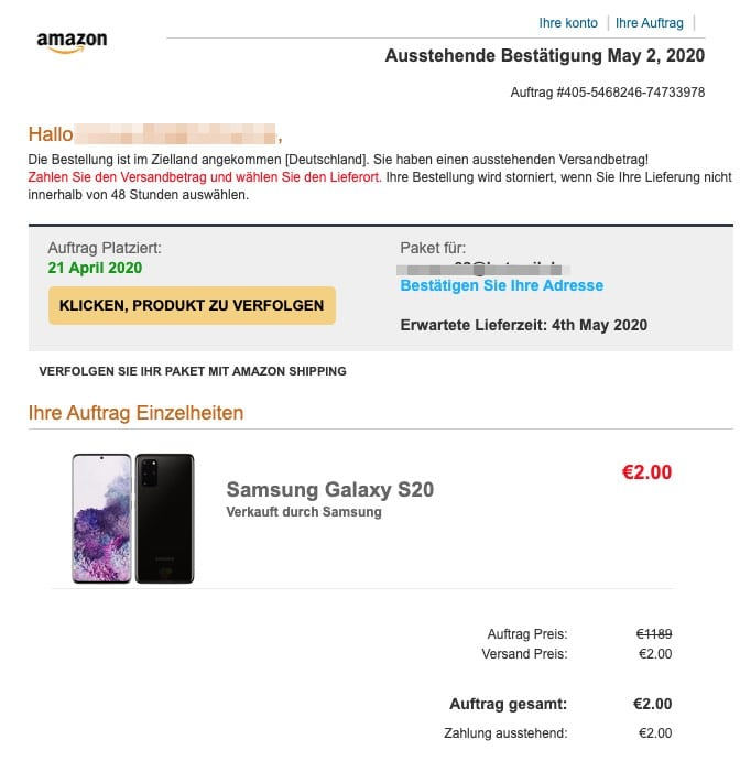 2020-06-02 Amazon Fake-Mail SPam Lieferstatus Ihres Pakets