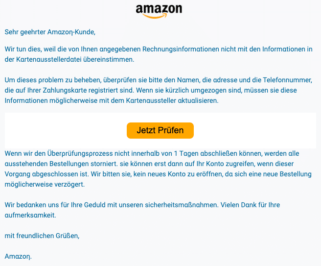 2020-06-02 Amazon Spam-Mail Rechnungsinformationen
