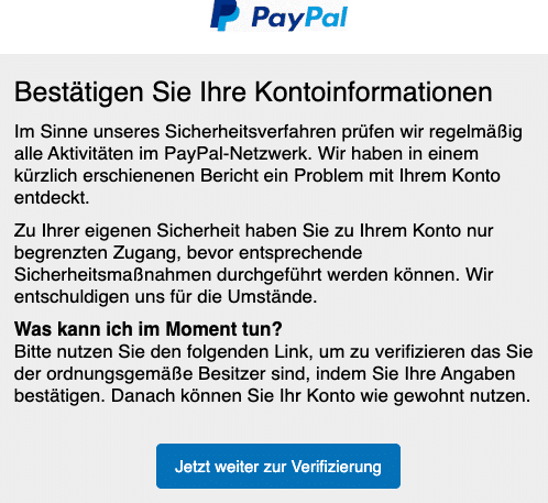 2020-06-02 PayPal Spam-Mail Kontoinformationen
