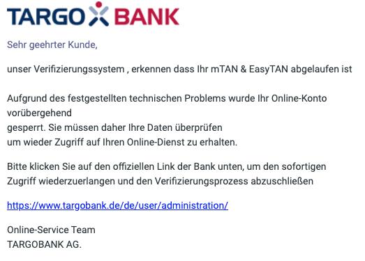 2020-06-02 Targobank SPam Fake-Mail Online-Banking Update