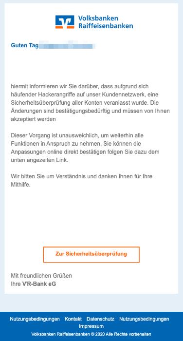 2020-06-02 Volksbank SPam-Mail Ihr Konto erfordert Ihre Aufmerksamkeit