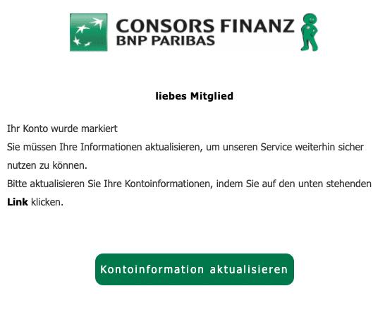 2020-06-18 Consors Finanz Spam Fake-Mail Ihr Konto wurde markiert
