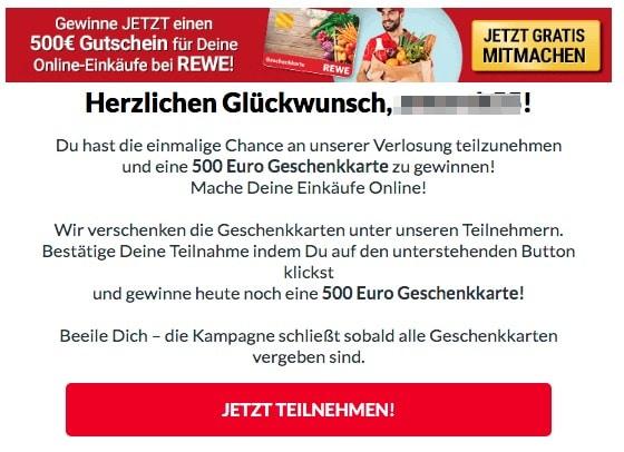 2020-06-21 REWE Spam Mail Gewinne jetzt einen Einkaufgutschein im Wert von 500Euro