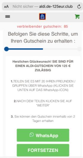 2020-08-13 WhatsApp Kettenbrief Aldi 125 Euro Gutschein 2