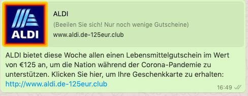 2020-08-13 WhatsApp Nachricht Aldi 125 Euro
