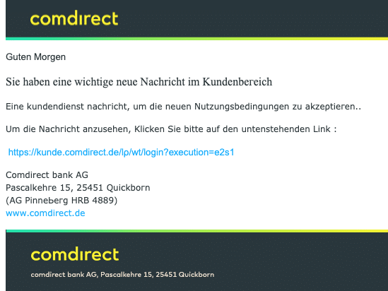 2020-09-30 Comdirect Spam Fake-Mail