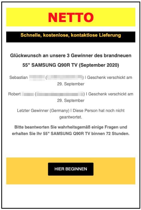 2020-10-05 Netto Spam-Mail Gewinner Samsung