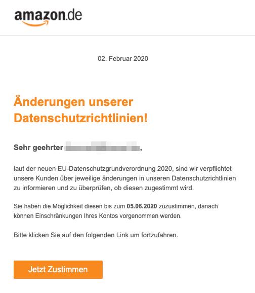 2020-06-03 Amazon Spam Fake-Mail Unsere Datenschutzrichtlinien haben sich geaendert