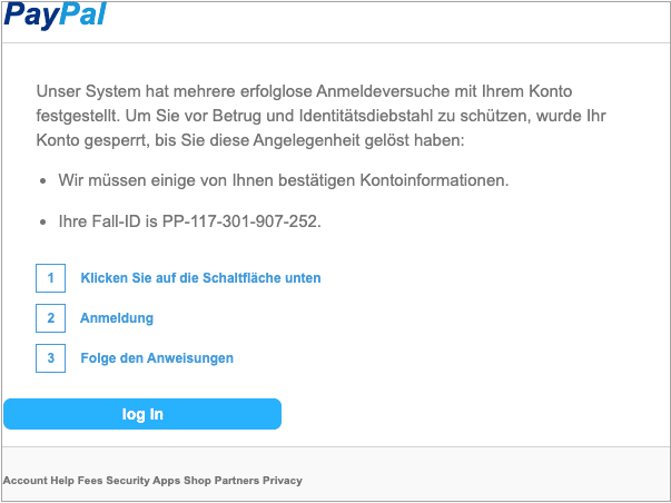 2020-06-03 PayPal Spam-Mail Unser System hat mehrere erfolglose Anmeldeversuche