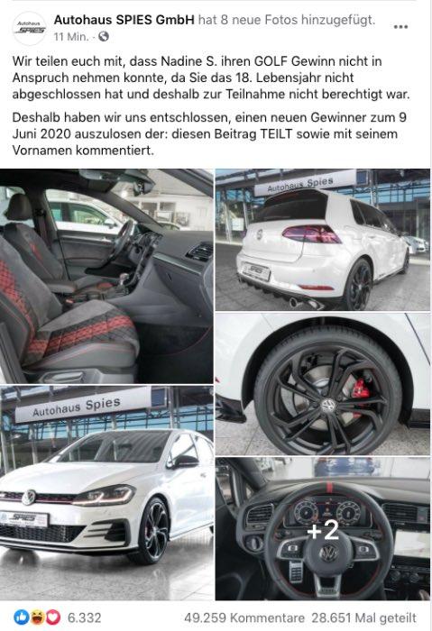 2020-06-04 Facebook Fake-Gewinnspiel Autohaus SPIES GmbH VW Golf