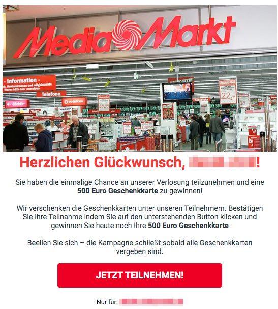 2020-06-06 MediaMarkt Spam Fake-Mail Du wurdest ausgewaehlt