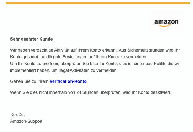 2020-06-08 Amazon Spam Fake-Mail Wichtig Wir haben ungewoehnliche Aktivitaeten in Ihrem Amazon-Konto festgestellt