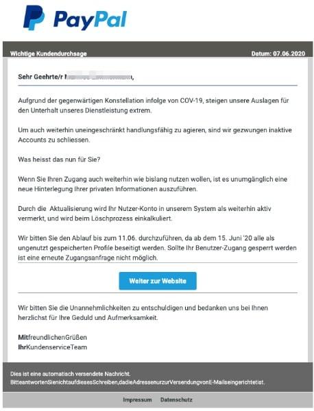2020-06-08 PayPal Fake-Mail Wichtige Information fuer