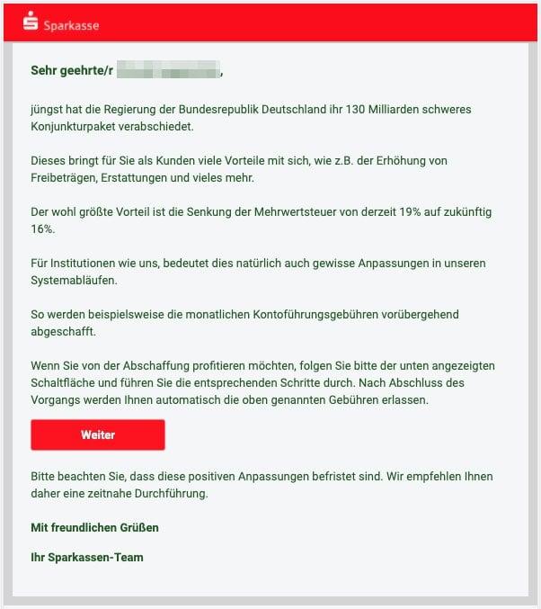2020-06-08 Sparkasse Fake-Mail Spam Neue Nachricht zu Ihrem Konto