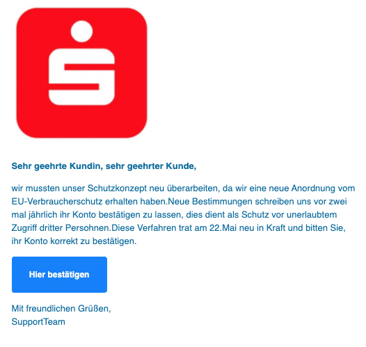 2020-06-08 Sparkasse Spam Phishing-Mail Kunden Information