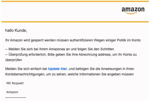 2020-06-09 Amazon Spam Fake-Mail Wichtig Wir haben ungewoehnliche Aktivitaeten in Ihrem Amazon-Konto festgestellt