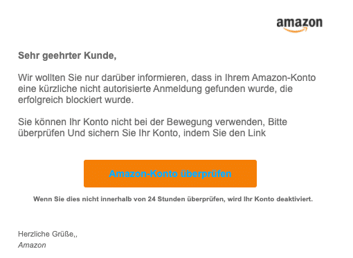2020-06-11 Amazon Spam Fake-Mail Ungewoehnliche Aktivitaeten