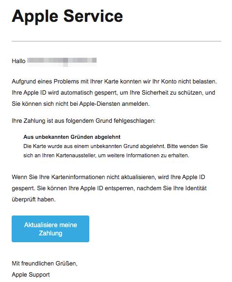 2020-06-12 Apple Spam Fake-Mail Erinnerung- Wir muessen Ihr Konto deaktivieren