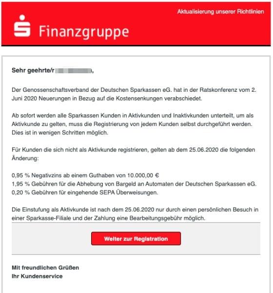 2020-06-12 Sparkasse Spam Fake-Mail Letzte Erinnerung