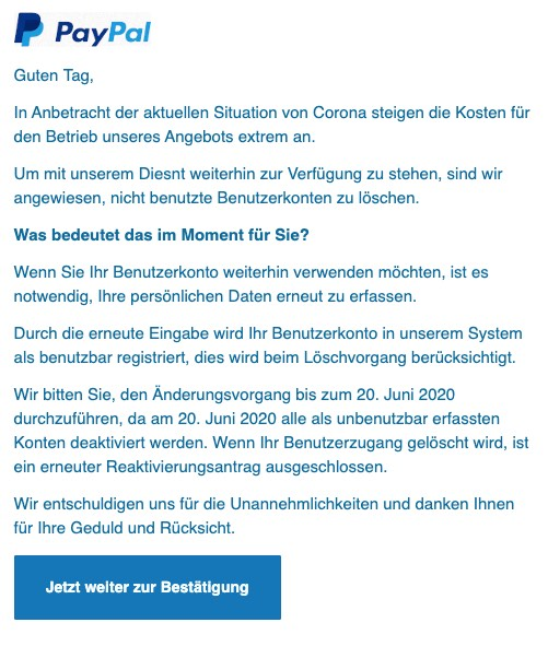 2020-06-15 PayPal Spam Fake-Mail Wichtige Informationen