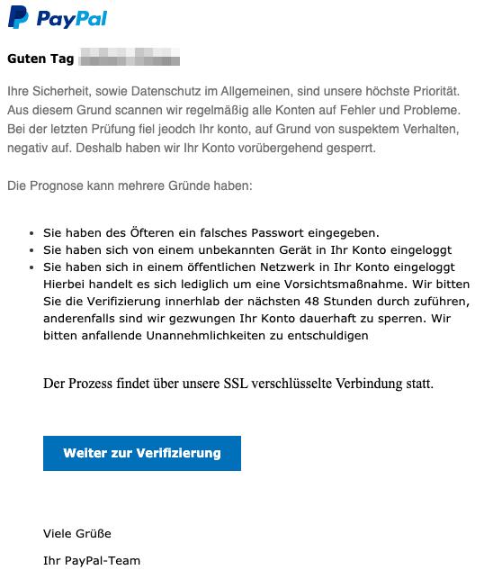 2020-06-19 PayPal Spam Fake-Mail Nachricht vom Kundenservice