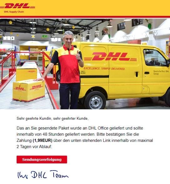 2020-06-20 DHL Paket Spam Fake-Mail Ihr Paket wartet auf die Lieferung