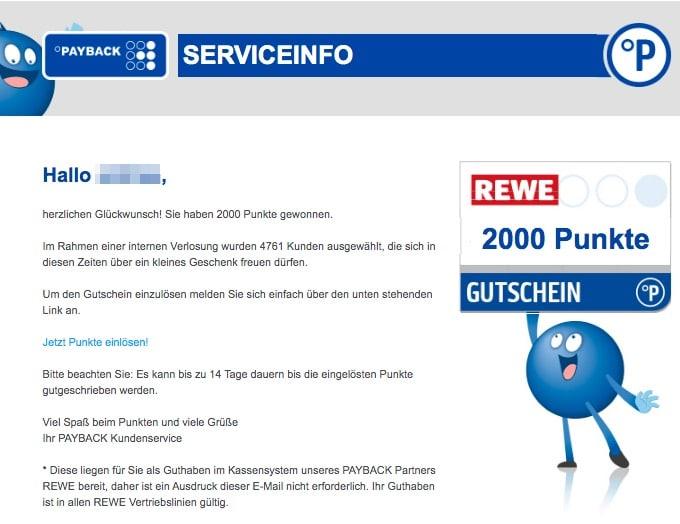 2020-06-21 Payback Spam Fake-Mail Geschenkt- Jetzt 2000 Punkte einfordern
